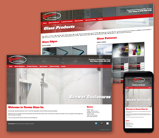 <h2>Yocum Glass & Shower</h2> Yocum Glass, located in Collegeville PA, requested a website redesign, online presence, SEO optimization and SEM online marketing campaigns created. Yocum glass is a provider of glass showers, glass enclosures, window repair and other glass work. <br><br>  The Yocum Glass, website design needed to highlight the firms services, products and expertise in the glass and window industry. Perfexion Web Design created an informational site, animations, and easy to update website sections. The website will be built using Microsoft .Net technologies featuring their logo, and a design to aid in Search Engine Optimization (SEO), Google AdWords / SEM efforts showcasing the companies products and services.