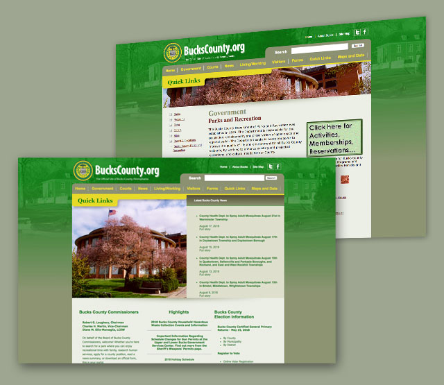 <h2>Bucks County</h2> We needed to develop a web site to serve Bucks County, PA that is easy to update and highlights information dissemination for the county. The client wanted key areas of the website to be Content Management-driven (CMS), and have the ability to update major portions of the website themselves using Dreamweaver. The website has over 1600+ pages.                  <br><br>                 We built a website that is easy to navigate and shows the information for the entire county in an easy to use format. There are areas of the website that use the Perfexion, Inc. Content Management System (CMS) to allow non-technical administration users of the website to update the content on a daily basis. One of the frequently updated pages is the Bucks County Jury Duty section which is updated daily. The website design needed to account for updating from the county, from administrative personnel, and from Perfexion, Inc. The website uses Dreamweaver templates and libraries extensively to make ease of mass updates possible. A search was added to assist in searching the website pages in an efficient manner. A Flash area was added to show seasonal photographs of interest.
