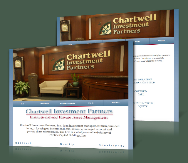 <h2>Chartwell Investment Partners</h2> Chartwell Investment Partners, Inc., requested a new website design and online presence. Chartwell Investment Partners, Inc., is an investment management firm, founded in 1997, focusing on institutional, sub-advisory, managed account and private client relationships.                 <br><br>                 Â The Chartwell Investment Partners, Inc., website design needed to highlight the firms professionalism, services, and features the services and funds the company offers, a Flash Animation and easy to update website sections. The website will be built using Microsoft .Net technologies featuring their logo, and a design to aid in future Search Engine Optimization (SEO), efforts.