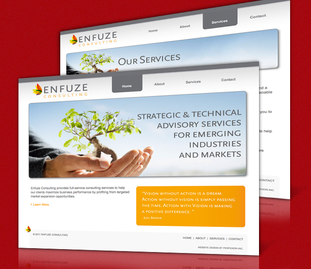 <h2>Enfuze</h2> Enfuze Consulting a local Philadelphia, PA consulting company, requested a website design, collateral development and branding for their Philadelphia website and online marketing efforts. The website features the services Enfuze Consulting offers, and information for Philadelphia small to mid size businesses.                          <br><br>                         The website will be built using Microsoft .Net technologies featuring logo, collateral development and a design to aid in future Search Engine Optimization (SEO), efforts.