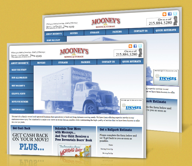 <h2>Mooney's Moving & Storage</h2>Mooney's Relocation website has been completely built using Macromedia Flash, .NET, and SEO. The website depicts Mooney's long history in the moving and relocation service. The goal of the project was to show the company's service offerings and history in the Philadelphia area.                 <br><br>                 • Created Logo                 • Created Storyboards and Flash Animations                 • Created Website Design                 • Created Pay Per Click Campaigns (PPC)                 • Created Search Engine Optimization Campaigns (SEO)                 • Provided Hosting