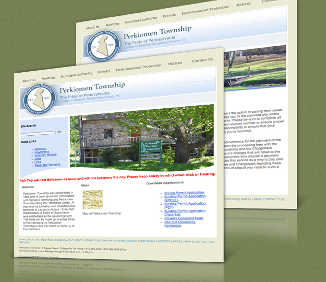 <h2>Perkiomen Township</h2> Perfexion, Inc. was asked to develop a website allowing the residents of a township to locate critical information, retrieve local information, plan activities. The client requested that the first phase of the project be done as static HTML with us updating content as needed. The second phase involved creating a custom Content Management System - CMS for the township                 <br><br>                 We built a website that shows township contact information, local and surrounding content, weather, and travel information. There are custom sections to display township meeting minutes and bulletins. We also designed the township's logo for the website and all collateral and printed documents.