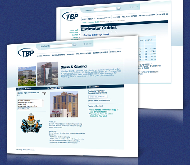 <h2>TPB Converting</h2> Perfexion, Inc. was asked to develop a website to serve TB Philly that showcases the companies high level of expertise and is easily updateable. The client wanted key areas of the website to be Content Management driven (CMS), and have the ability to update major portions of the website themselves using Content Management solutions. Ease of navigation and an easy to use search were extremely important.                         <br><br>                         We built a web site that is easy to navigate and search allowing product and marketing information to be readily available. There are areas of the website that use the Perfexion, Inc. Content Management System to allow non-technical administration users of the website to update the content on a daily basis. A search has been added to assist in searching the website pages in an efficient manner and a Flash area was added to highlight selected projects.