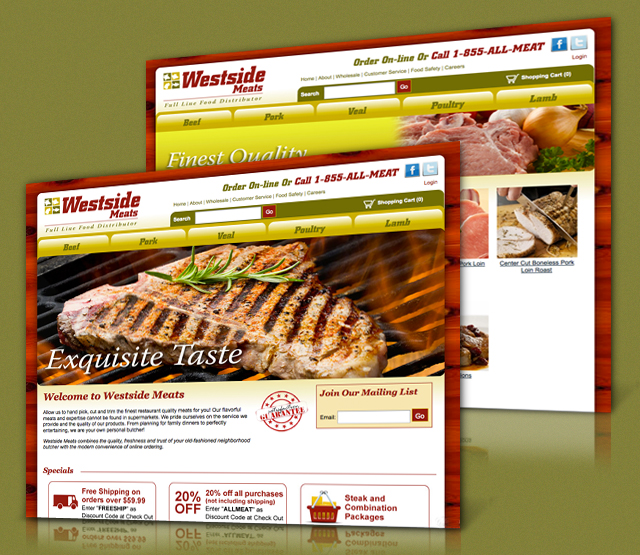 <h2>West Side Meats</h2>Westside Meats, a Rio Grande, NJ premium full line food distributor, asked Perfexion, Inc to create an online presence by creating an ecommerce website redesign for their Rio Grande New Jersey website and marketing efforts.                      <br><br>                     We created a logo, professional design focusing on search engine optimization - SEO, and ecommerce transactions. The ecommerce website will feature a full ecommerce website using AspDotNet Storefront (a full featured content management system, Flash Animation, company and product information, and details on the companies products for wholesalers and consumers.