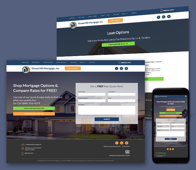<h2>Drexel Hill Mortgage</h2>We needed to develop a WordPress web site design for Drexel Hill Mortgage in Wayne PA.  Drexel Hill Mortage needed to have a new website built which included a responsive design and be able to be optimized easily for SEO and have the ability to integrate with 3rd party vendors for mortgage rates, data and the submission of various mortgage related information.              <br><br> The client wanted the website to be Content Management-driven (CMS), have the ability to integrate with 3rd party providers for rates, mortgage information and also intgrate easily with 3rd party vendors for lead generation products. The site also needed to be SEO friendly while being easy to update and optimize.             <br><br>              We built a WordPress website that is easy to navigate and has integrations for lead generation, mortgage rates, mortgage submissions, and various mortgage and lead submission forms to give potential clients an easy to use navigation and user experience. The website was constructed with workflows enabling potential clients to navigate through various loan products and offerings with the ability to contact a loan specialist at any time either by phone or contact form. Sine the website was built in WordPress, it allows non-technical administration users of the website the ability to update the content themselves. The website design needed to be mobile responsive, quick loading, and also needed to integrate easily with 3rd party plugins for mortgage, SEO, analytics and other 3rd party integrations.