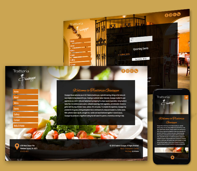 <h2>Trattoria Guiseppe</h2>We needed to develop a WordPress web site designed to serve the Trattoria Guiseppe restaurant, in Edgemont PA that is easy to update and highlights the restaurants menu, hours and current information.              <br><br> The client wanted mobile responsive website to be Content Management-driven (CMS), and have the ability to update major portions of the website themselves using an easy to use content management system.             <br><br>              We built a WordPress website that is easy to navigate and has integrations for scheduling reservations, including a banquet area. Since the website is built in WordPress, it allows non-technical administration  users of the website the ability to update the content on a daily basis. The website design needed to account for having two different views into the restaurant - a full service restaurant and banquet rooms. Each area has separate  galleries, menus and contact information.